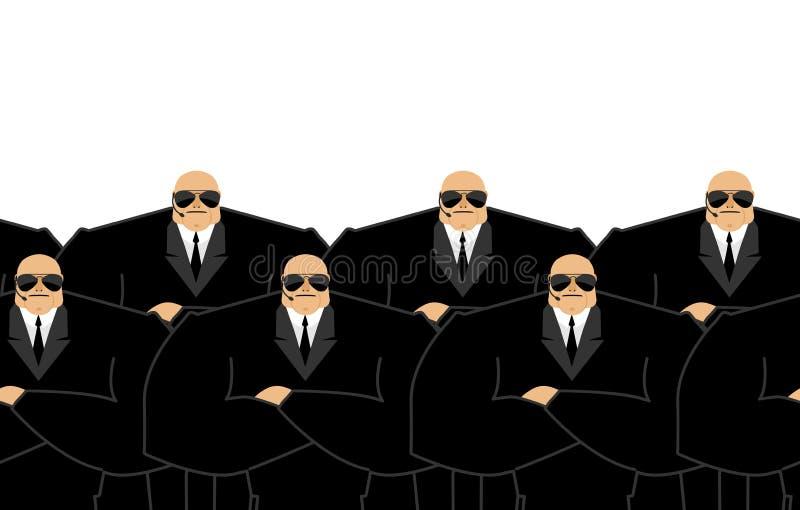 культуристов Черный костюм и хэндс-фри Охранник Защита a бесплатная иллюстрация