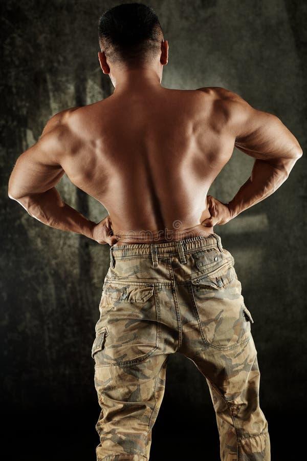 Культурист изгибая задние мышцы стоковые изображения rf