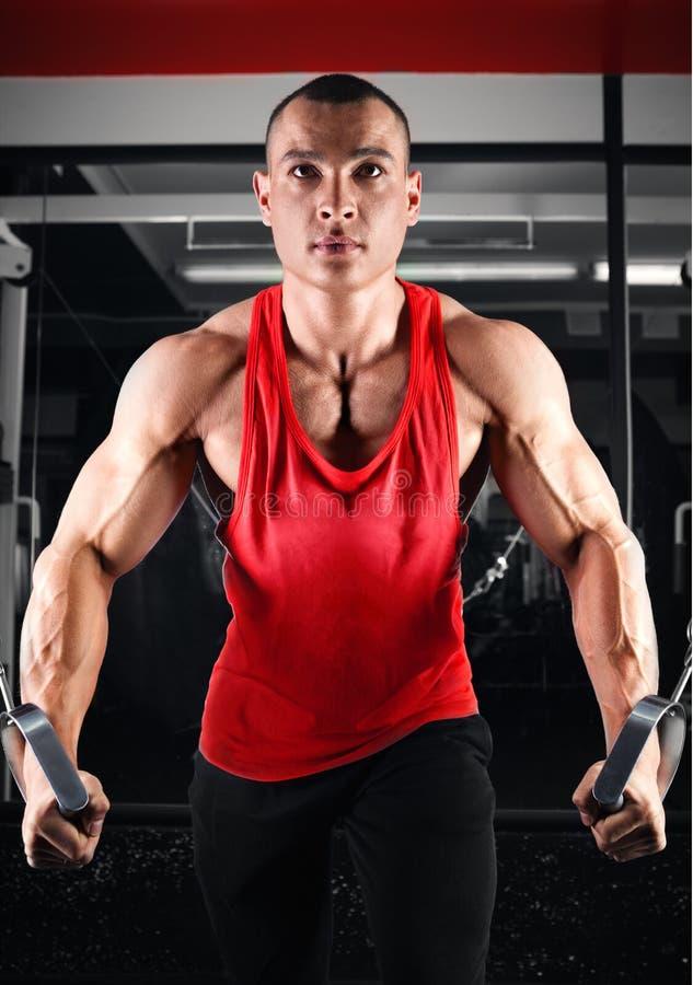 Культурист нагнетая вверх muscles на кроссовере стоковая фотография