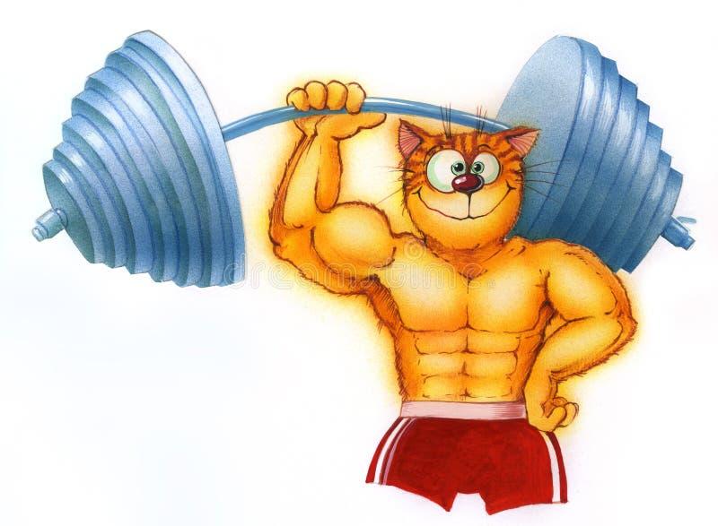культурист шаржа, поднимая тяжелого большого кота dumbbel иллюстрация вектора