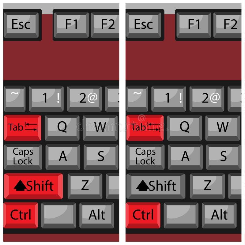 Клавиатура кнопки комбинации, вызывает затем и назад иллюстрация вектора