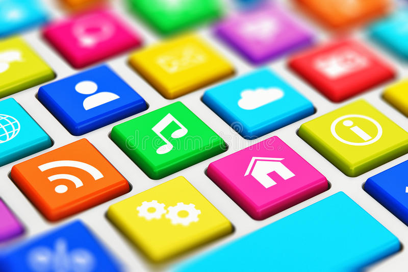 Клавиатура компьютера с ключами средств массовой информации цвета социальными иллюстрация вектора