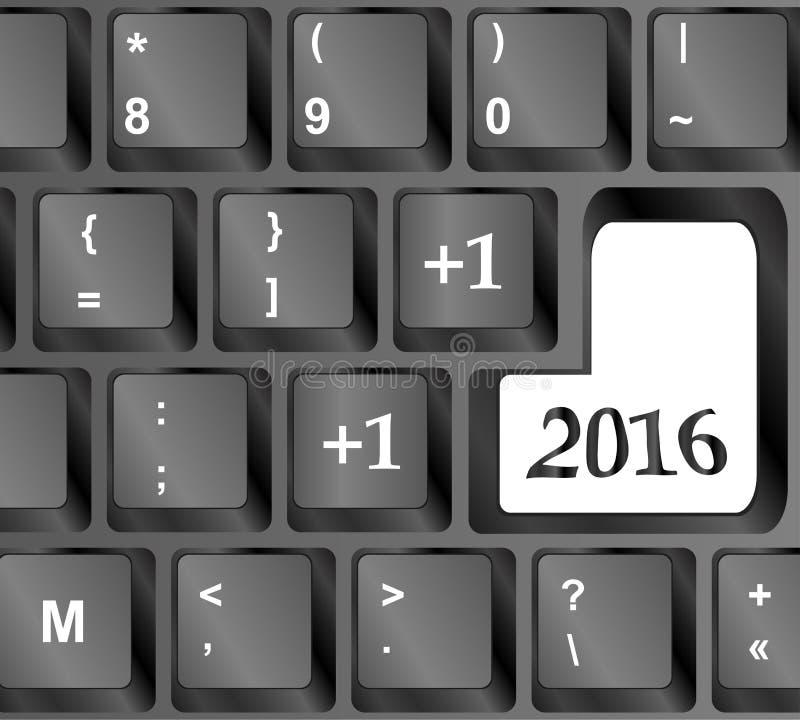 Клавиатура компьютера с счастливым ключом Нового Года 2016 иллюстрация вектора