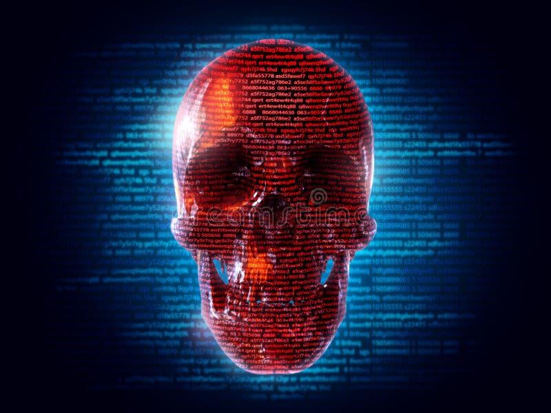 клавиатура хакера черепашки нападения механически иллюстрация вектора