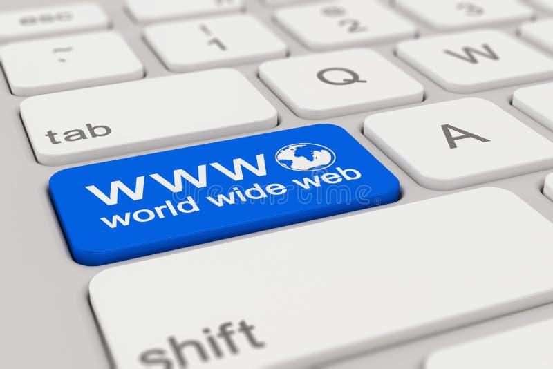 Клавиатура - www - Всемирный Веб - синь иллюстрация вектора