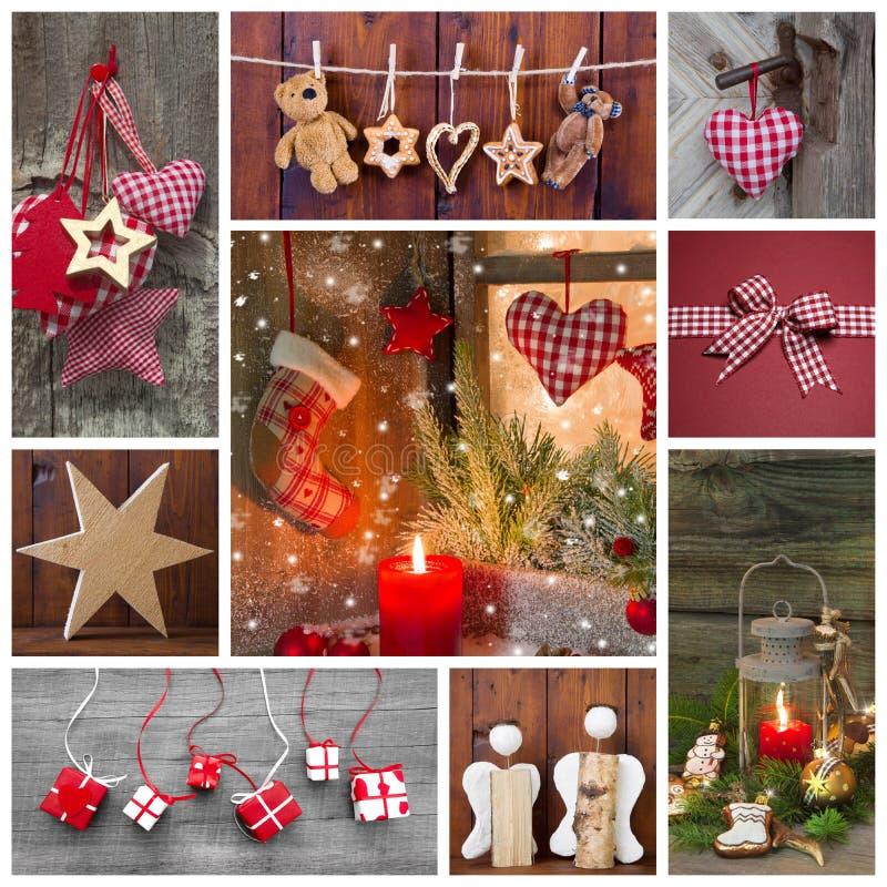 Классицистическое украшение рождества в красной, проверенный и зеленый стоковое фото