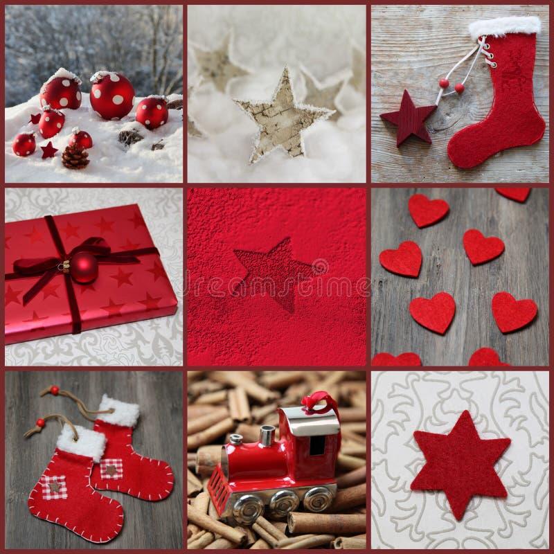Классицистическое украшение рождества в красном цвете, сером цвете и белизне стоковое фото rf