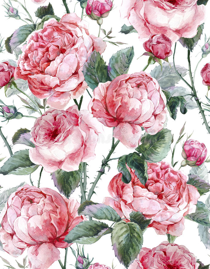Классическая винтажная флористическая безшовная картина иллюстрация штока