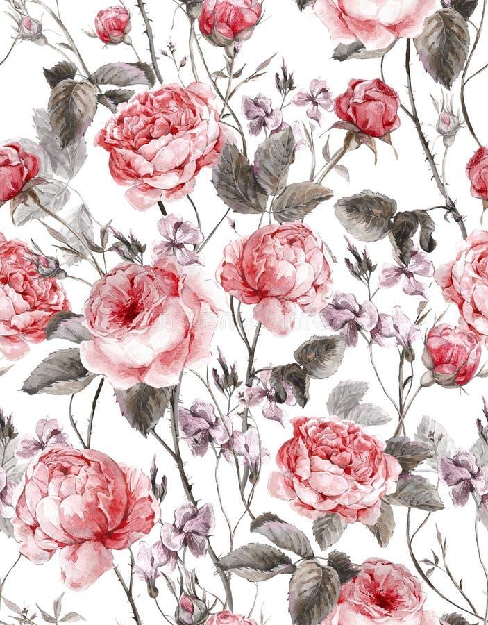Классическая винтажная флористическая безшовная картина иллюстрация вектора