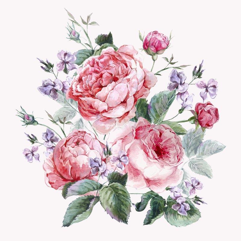 Классическая винтажная флористическая поздравительная открытка, акварель иллюстрация вектора