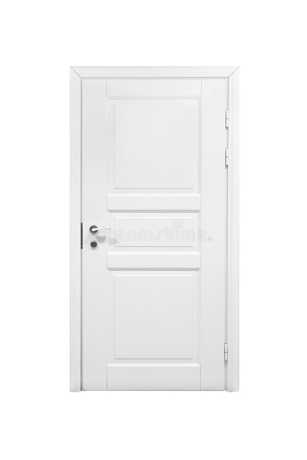 Классическая закрытая деревянная дверь изолированная на белизне стоковые изображения