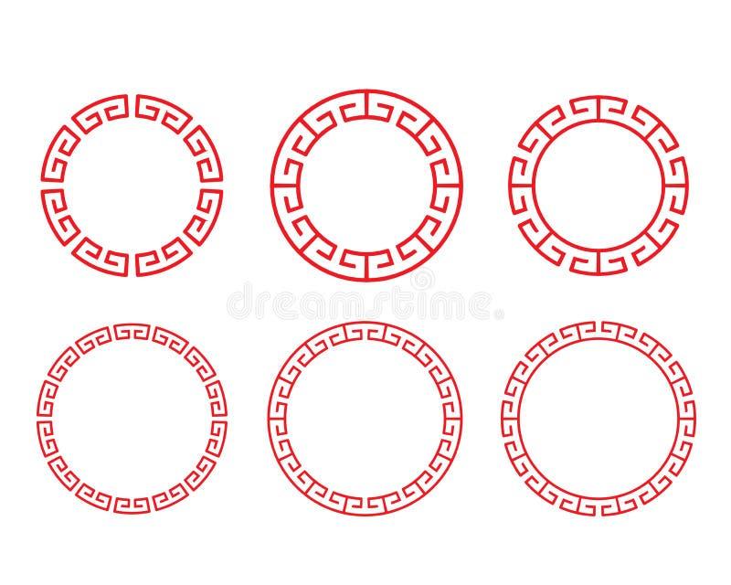 Классическая китайская красная рамка окна и фото круга иллюстрация вектора