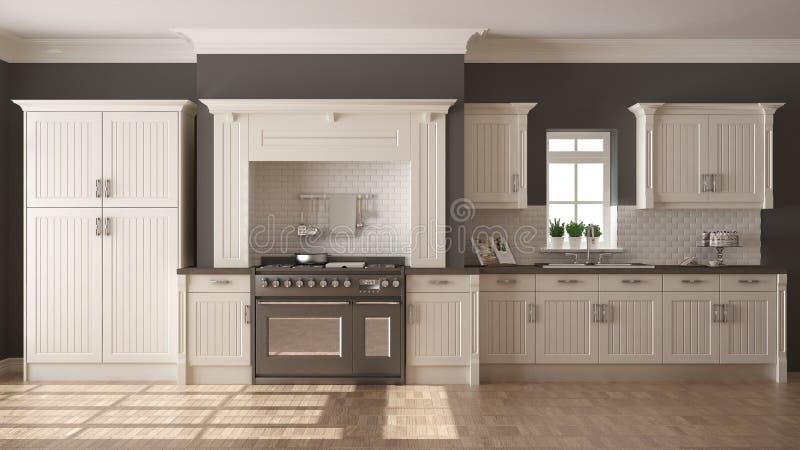 Классическая кухня, скандинавский минимальный дизайн интерьера с woode иллюстрация штока