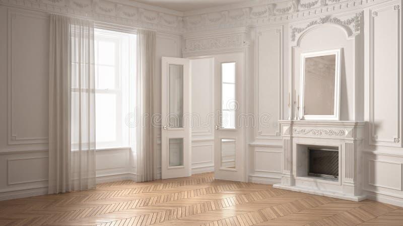 Классическая пустая комната с большими окном, камином и herringbone wo иллюстрация вектора