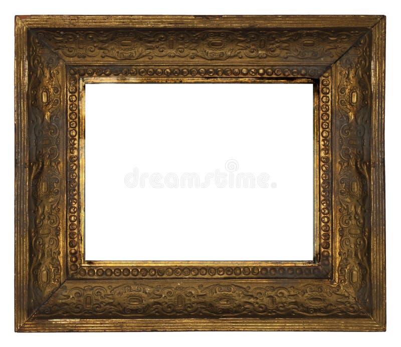 Классическая старая богато украшенная деревянная картинная рамка высекла вручную на белой предпосылке стоковая фотография