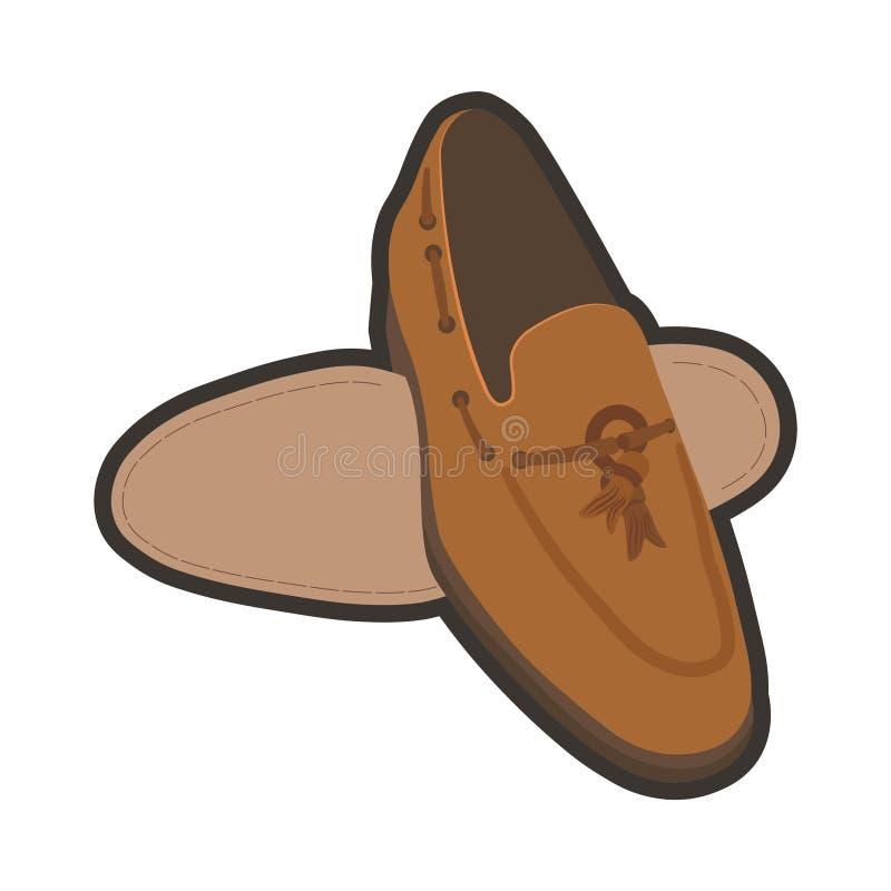 Классические коричневые мужские ботинки иллюстрация вектора
