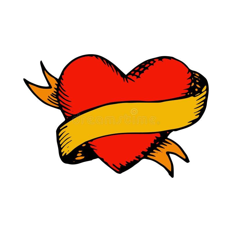 Классические сердце и лента вектора татуировки стоковые изображения