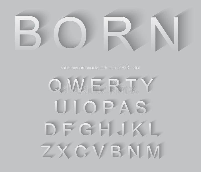 Классический алфавит с современным длинным влиянием тени бесплатная иллюстрация