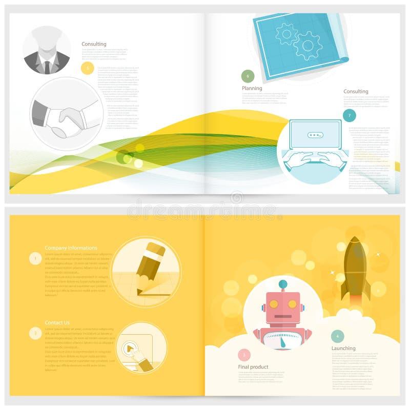 Классический буклет конкретного исследования: шаблон дизайна брошюры для дела с значками концепции бесплатная иллюстрация