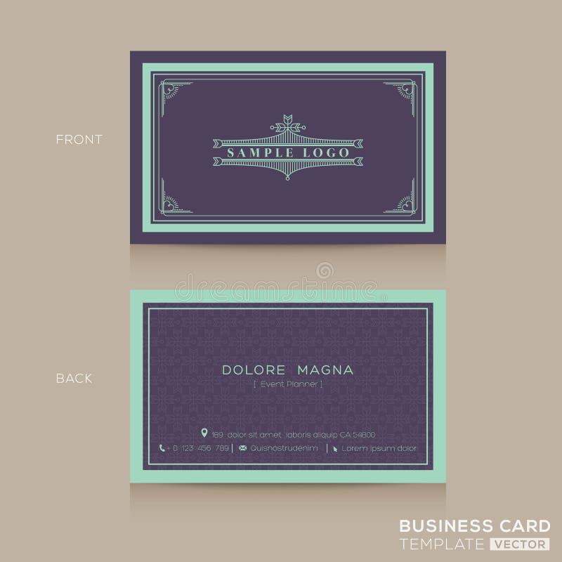 Классический винтажный шаблон namecard визитной карточки иллюстрация вектора
