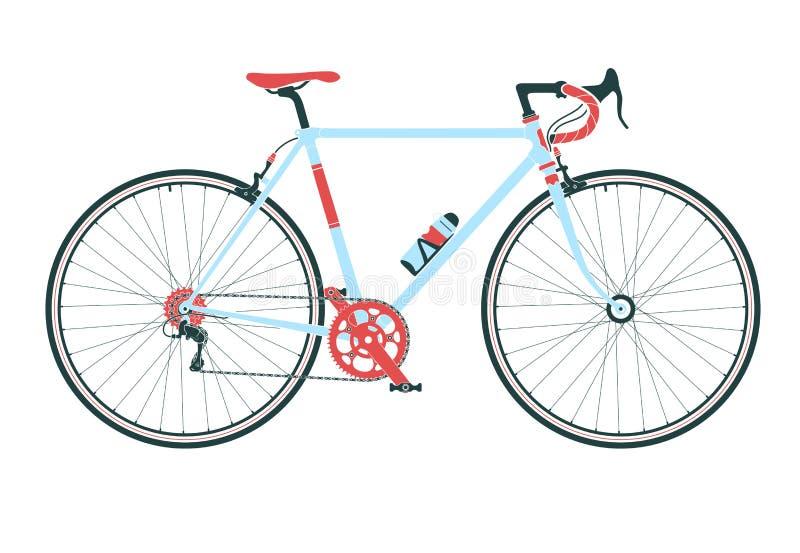 Классический городок, велосипед дороги, детальная иллюстрация вектора иллюстрация штока