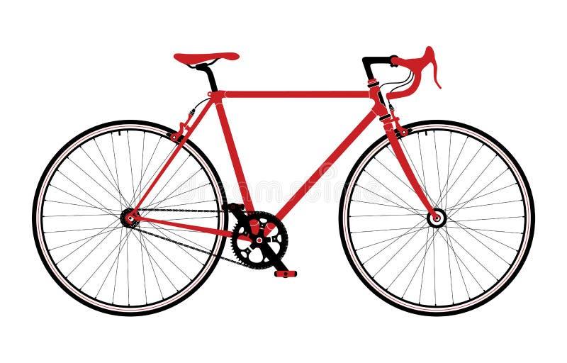Классический городок, дорога singlespeed велосипед, детальная иллюстрация вектора иллюстрация штока