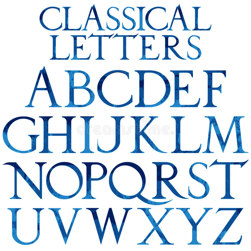 Классический голубой шрифт акварели бесплатная иллюстрация