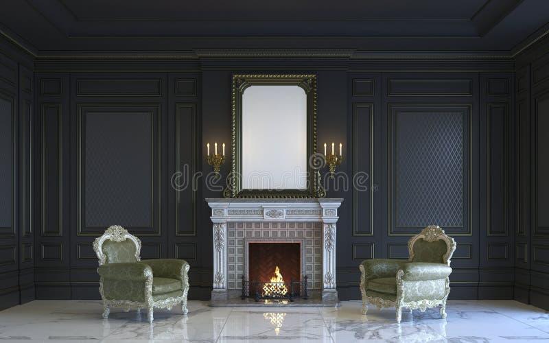 Классический интерьер в темных тонах с камином перевод 3d иллюстрация штока