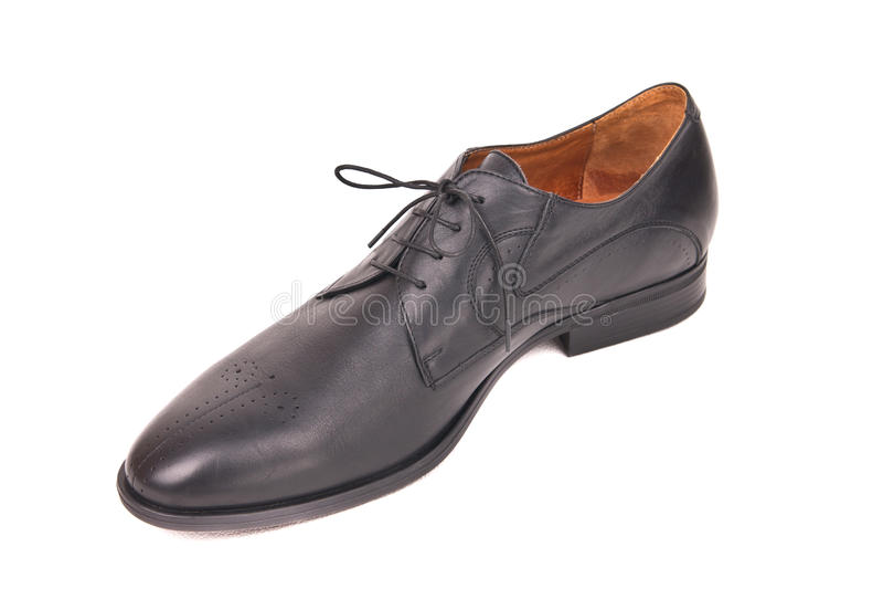 Классический мужской черный кожаный ботинок стоковые фото