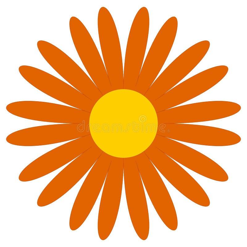 Классическое зажим-искусство цветка Простая оранжевая маргаритка, значок цветка, symbo иллюстрация штока