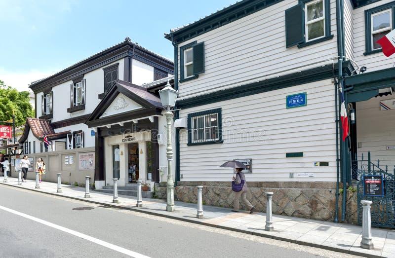 Классическое здание французского дома теперь раскрыло для публики как музей на историческом чужом жилом районе в районе Kitano, К стоковое фото rf