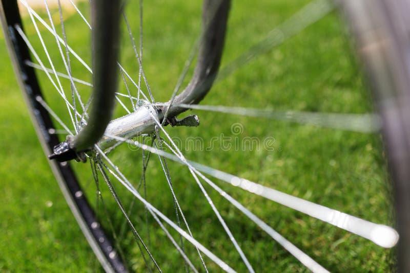 Классическое фото конца-вверх велосипеда дороги в поле луга зеленой травы лета предпосылка больше моего перемещения портфолио стоковые изображения rf