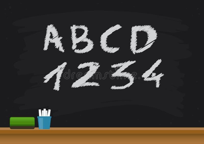 Классн классный школы с алфавитами и номерами иллюстрация вектора
