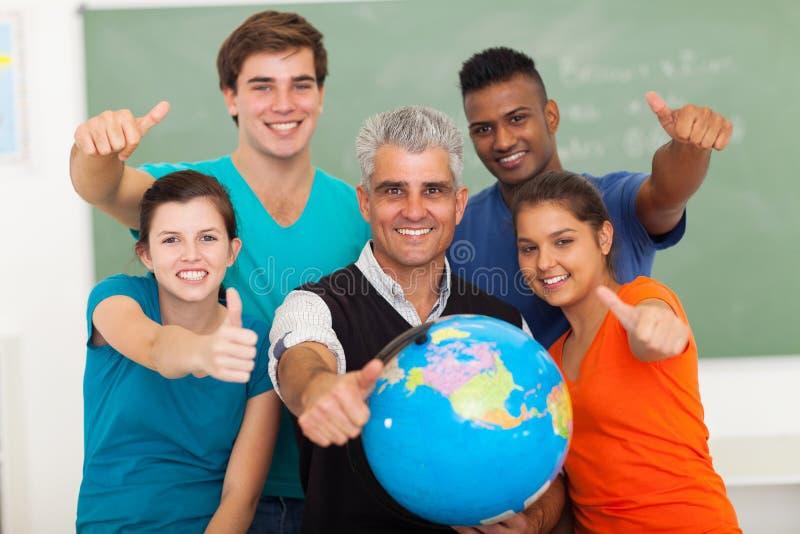 класс учителя студентов стоковое изображение