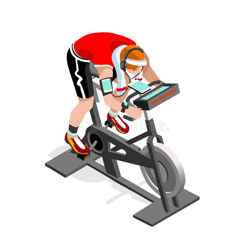 Класс фитнеса велотренажера закручивая плоско равновеликий закручивая велосипед фитнеса 3D Класс спортзала разрабатывая задейству иллюстрация вектора