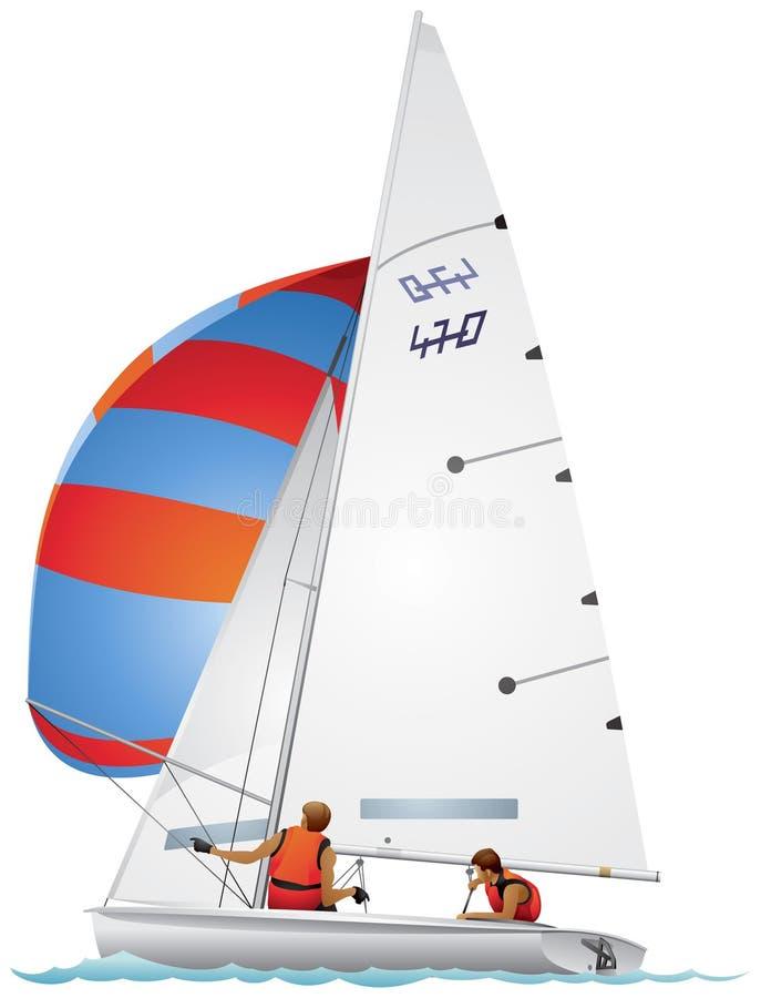 Download Класс Four-Seventy яхты 470 в профиле Иллюстрация вектора - иллюстрации насчитывающей spinnaker, спортсмены: 41658452