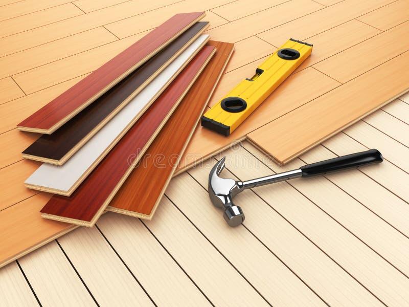 Класть концепцию партера твёрдой древесины Молоток и уровень на поле иллюстрация вектора