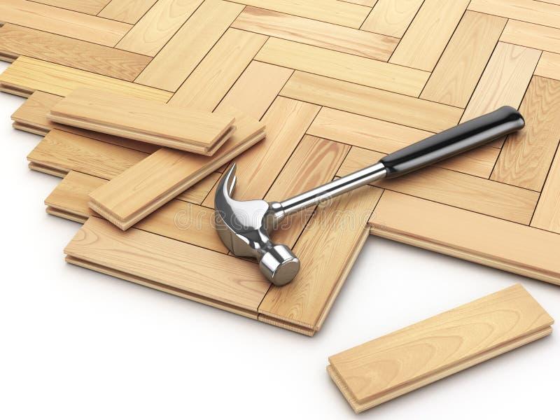 Класть концепцию партера твёрдой древесины Молоток на поле иллюстрация штока