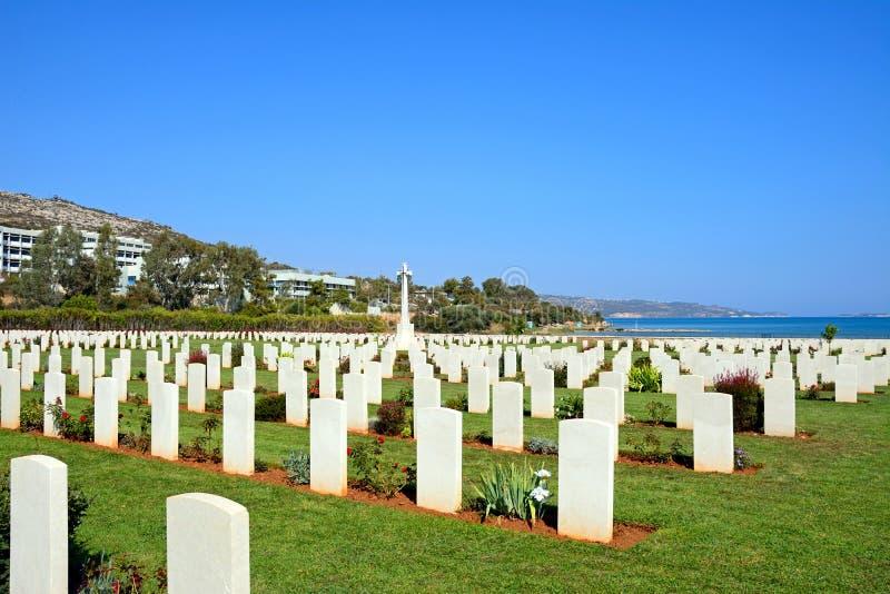 Кладбище войны залива Souda объединенное, Крит стоковые фото
