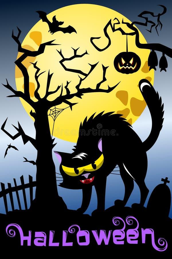 Кладбище кота предпосылки хеллоуина пугающее иллюстрация штока