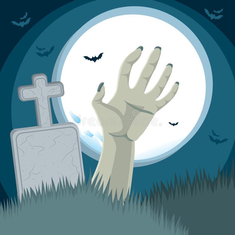 Кладбище руки зомби бесплатная иллюстрация