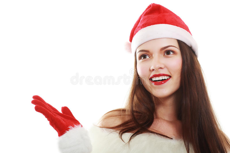 кладет женщину в мешки santa стоковые фото