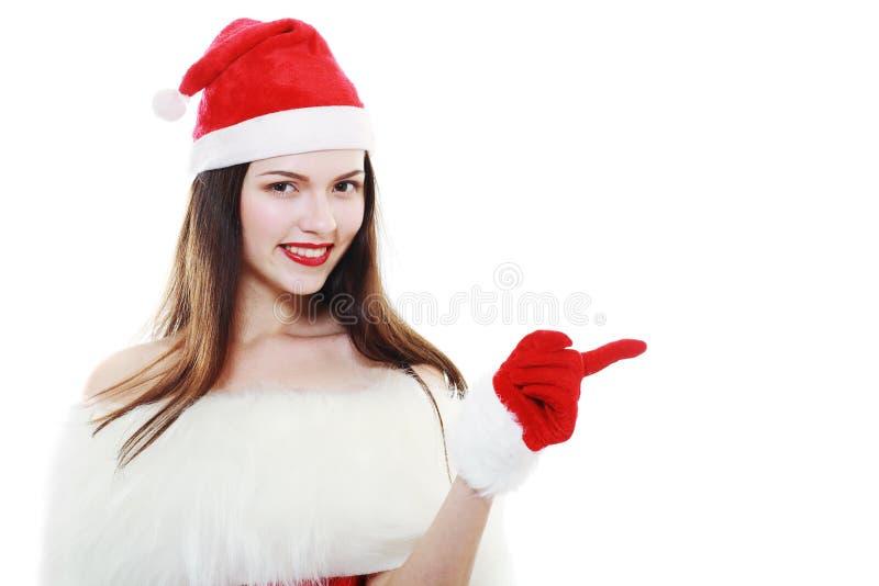 кладет женщину в мешки santa стоковые изображения