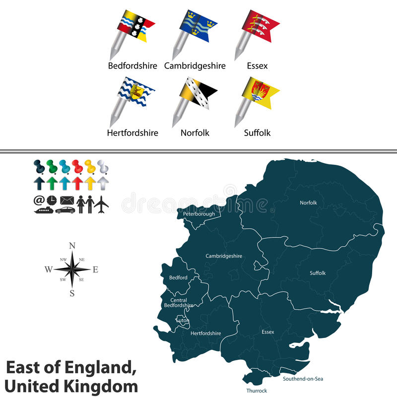 К востоку от Англии, Великобритания иллюстрация вектора