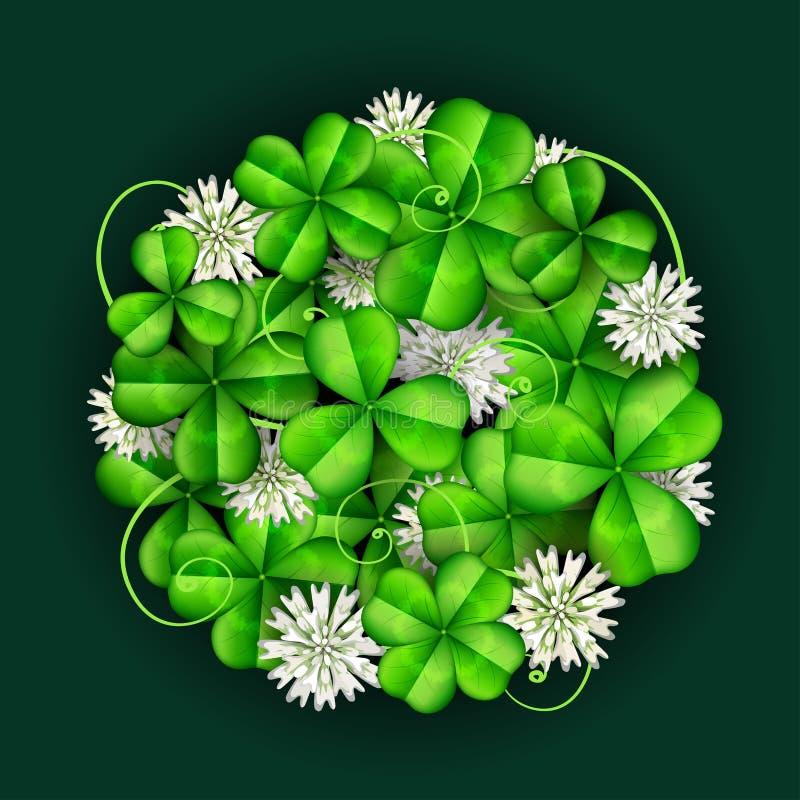 Клевер лист при белые цветки, аранжированные в круге на день ` s St. Patrick иллюстрация штока