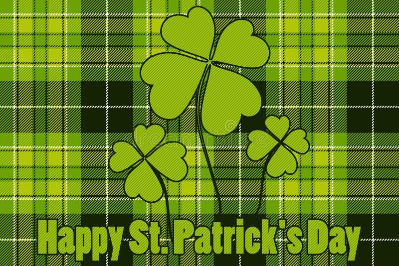 Клевер на день St Patricks безшовной предпосылки шотландки проверки счастливый иллюстрация вектора