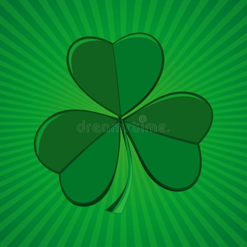 Клевер на зеленой ретро предпосылке Shamrock, trifoliate клевер - символ Ирландии иллюстрация вектора