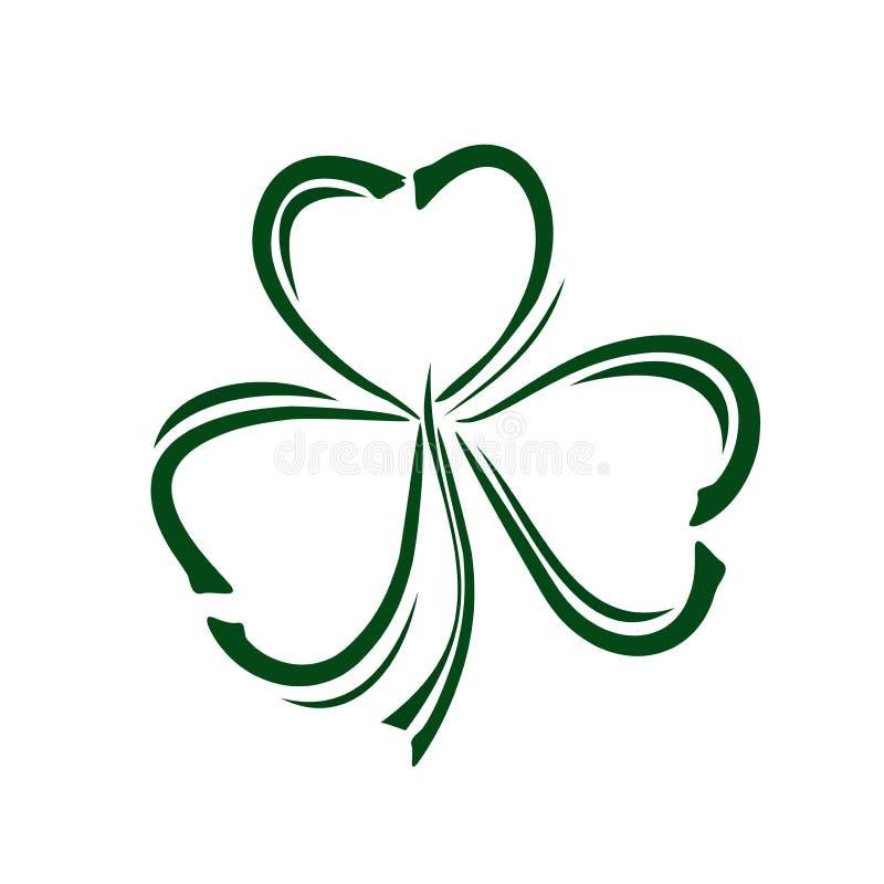 Клевер Shamrock trifoliate Значок стиля Doodle Символ торжества дня St Patricks иллюстрация штока