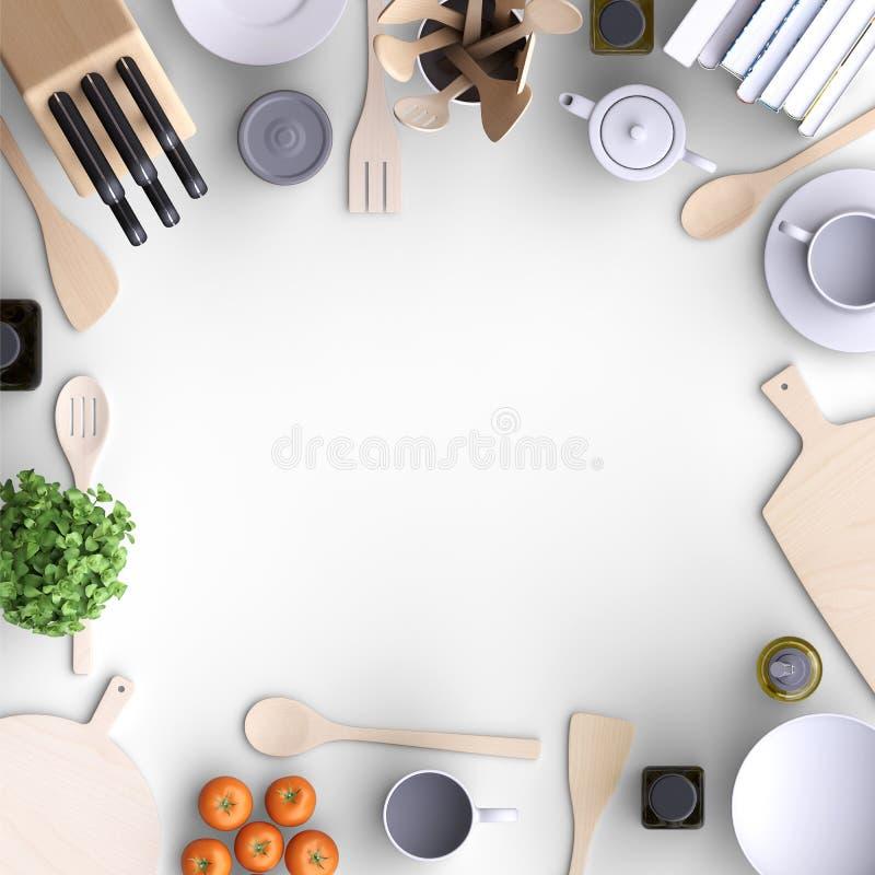Клеймя насмешливая поднимающая вверх кухня с таблицей и kitchenware бесплатная иллюстрация
