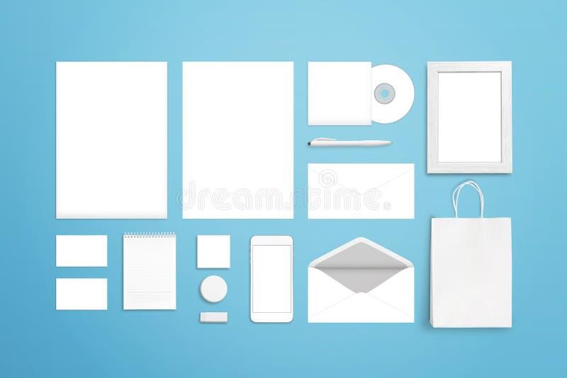 Клеймя шаблон фирменного стиля Белые пустые канцелярские принадлежности и канцелярские товары стоковое фото